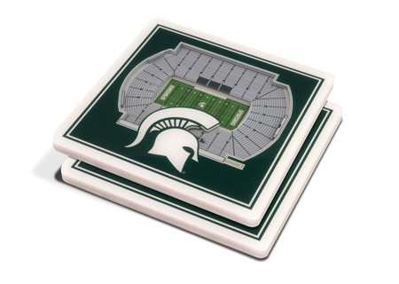 3-d michigan state spartans stadium coaster - set of 2
