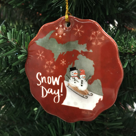 snow day michigan ornament