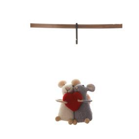 wool felt mice with heart ornament
