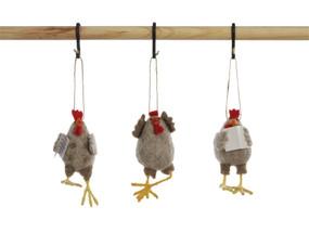 wool felt chicken ornament (assorted)