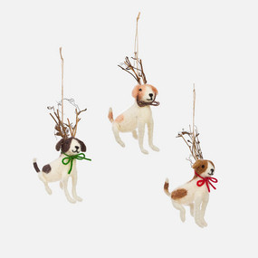 dog with twig antler ornament (assorted)