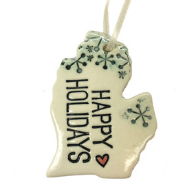 happy holidays michigan ceramic ornament