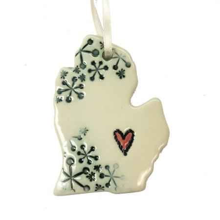 heart & snowflakes michigan ceramic ornament
