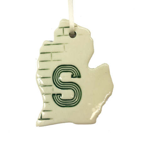 MSU michigan ceramic ornament