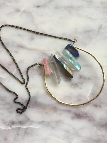 hammered brass hoop necklace