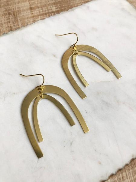 large brass rainbow earrings