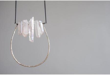 hand hammered brass necklace