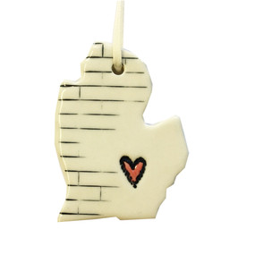 michigan heart ceramic ornament
