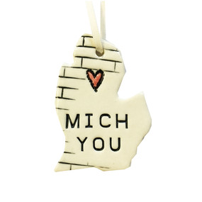 mich you michigan ceramic ornament