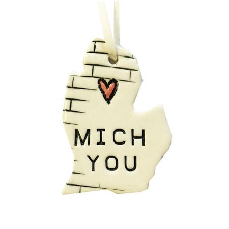 mich you michigan ceramic ornament