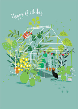 greenhouse birthday card, 4-3/4 in. x 6-3/4 in. Embellished with brilliant gold foil. Printed on FSC certified stock.