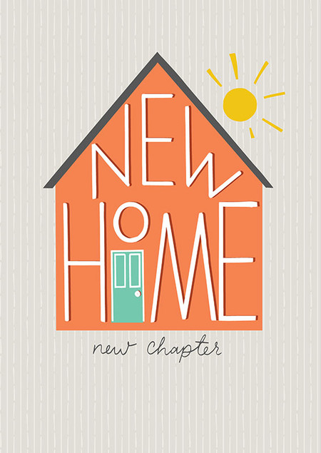 """new home new chapter card, 4-3/4"""" x 6-3/4"""" Embellished with spot varnish and embossing. Each card is individually cello wrapped and includes a turquoise envelope."""