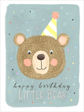 "little bear birthday card, 5"" x 7""Printed on FSC certified board. Each card is cello wrapped and includes a kraft envelope."