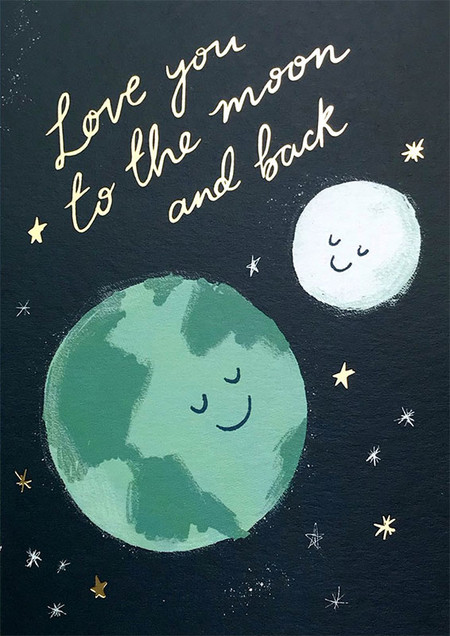 love you to the moon, love, 4-1/4 in. x 5-3/4 in.  Embellished with brilliant gold foil. Each card is individually cello wrapped and includes a crisp white envelope.