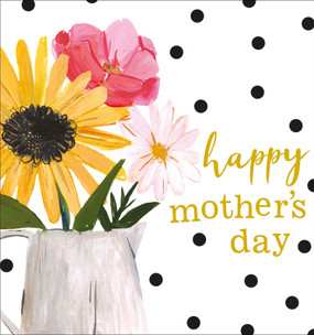 """flowers and vase mother's day card, 5"""" x 5-1/4"""" Embellished with brilliant gold foil and embossing. Printed on low chlorine pulp from sustainable forests. Individually cello wrapped with a crisp white envelope."""