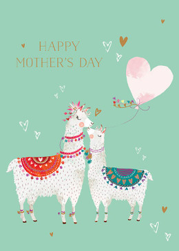 llamas mother's day card, 4-3/4 in. x 6-3/4 in. Embellished with brilliant gold foil. Printed on FSC certified stock. Each card is individually cello wrapped and includes a kraft envelope.