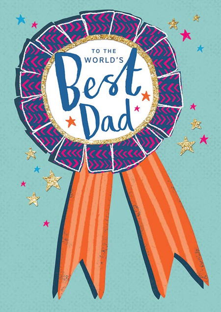 "world's best dad, award, father's day card, 4-1/4"" x 6"" Embellished with gold flitter. Printed on FSC certified board. Each card is individually cello wrapped and includes a printed envelope."