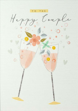 wedding card, happy couple, champagne, Size: 4-3/4 in. x 6-3/4 in.  Printed on FSC certified board. Embellished with embossed designs. Each card is individually cello wrapped and includes a printed envelope.
