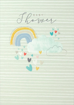 "baby shower card, rainbow, 4-3/4"" x 6-3/4""  Embellished with embossed designs. Each card is individually cello wrapped and includes a printed envelope."