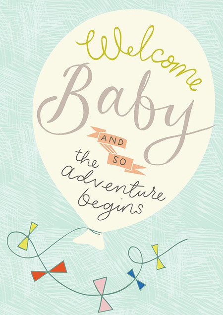 "welcome baby card, adventure, 4-3/4"" x 6-3/4"" Embellished with spot varnish and embossing. Each card is individually cello wrapped and includes a mustard envelope."