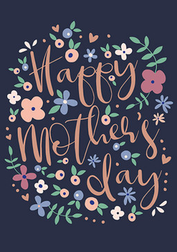 blue flowers mother's day card, 4-1/4 in. x 6 in. Embellished with brilliant copper foil and embossing. Printed on FSC certified board.Each card is individually cello wrapped and includes a crisp white envelope.