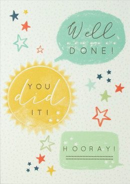 "congratulations card, well done, hooray, 4-3/4"" x 6-3/4"" Embellished with embossed designs. Each card is individually cello wrapped and includes a printed envelope."