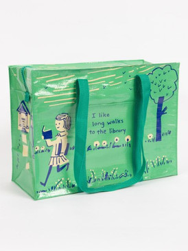 """tote, long walks, library, 95% post consumer recycled material. 11""""h x 15""""w x 6.25""""d"""