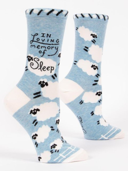 sleep, tired, new baby, menopause, funny, women's shoe size 5-10.  58% nylon; 40% combed cotton; 2% spandex.