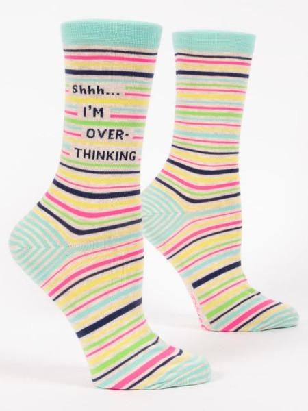 thinking, overthinking, funny, Women's shoe size 5-10. 62% nylon; 35% combed cotton; 3% spandex.