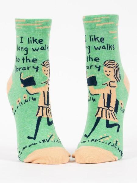 long walks, library, books, reading, women's shoe size 5-10. 50% nylon; 48% combed cotton; 2% spandex.