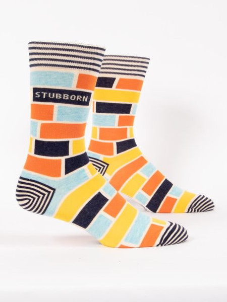 socks, men, stubborn, funny, men's shoe size 7-12. 62% combed cotton, 35% nylon and 3% spandex.