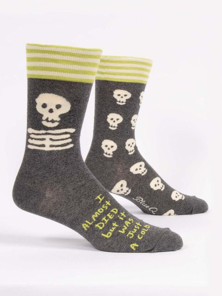 socks, died, cold, hypochondriac, funny, men's shoe size 7-12. 50%  nylon; 47% combed cotton; 3% spandex.