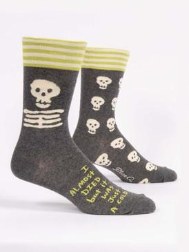 socks, died, cold, hypochondriac, funny, men's shoe size 7-12. 50%  nylon; 47% combed cotton; 3% spandex.