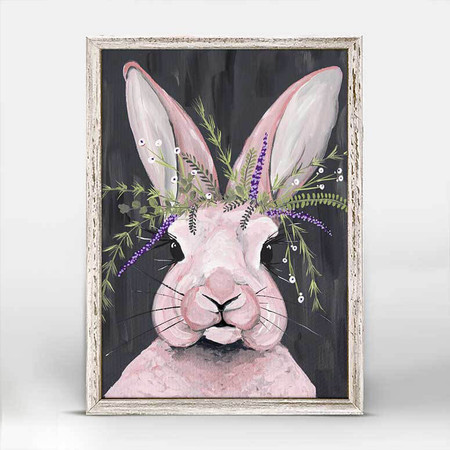 canvas, bunny, rabbit, pink, Spring Whitaker, fresh lavender,  baby's breath, ciclee On canvas, 5x7