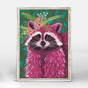 Racoon, juniper, Spring Whitaker, magenta, orange flower crown, mniature,  canvas wall art, unique rustic finish, giclee on canvas 5 X 7.