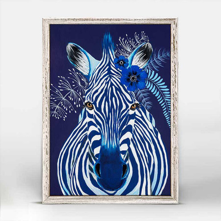 Zebra, Spring Whitaker, monochromatic,  blue portrait,  headpiece, anemone flowers, mniature,  canvas wall art, unique rustic finish, giclee on canvas 5 X 7.