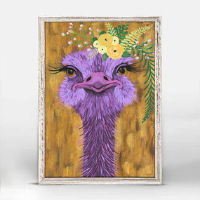 Ostrich, Spring Whitaker,  yellow festive flower, garland, opulent, mniature,  canvas wall art, unique rustic finish, giclee on canvas 5 X 7.