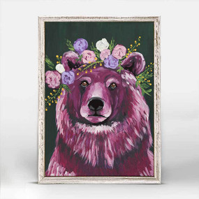 Bears, flowers, fauna, canvas, decor, art, Spring Whitaker, crown violet coat, framed canvases, rustic finish, minis, gallery wall.