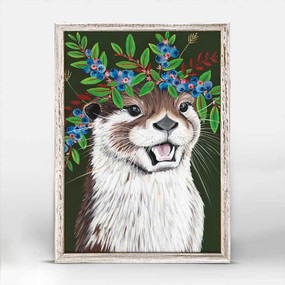 Otter, blueberries, flowers, fauna, headdress, canvas, decor, art, Spring Whitaker, crown violet coat, framed canvases, rustic finish, minis, gallery wall.