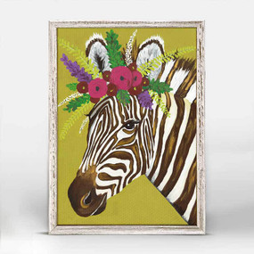 Zebra, gardland of pink and red blossoms, canvas, decor, art, Spring Whitaker,  framed canvases, rustic finish, minis, gallery wall.