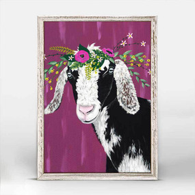 Goat, carnations and wildflowers, canvas, decor, art, Spring Whitaker, framed canvases, rustic finish, minis, gallery wall.