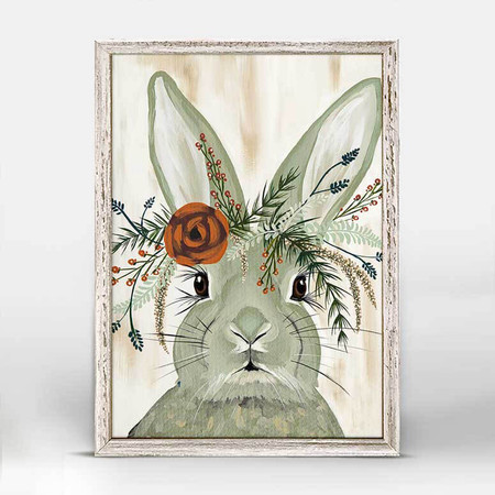 Rabbit, spring floral crown, canvas, decor, art, Spring Whitaker, framed canvases, rustic finish, minis, gallery wall.