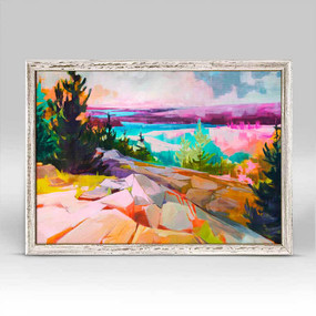 Mountain scene, neon pinks and oranges, Jess Frank, landscape portrait, otherworldly, framed canvases, rustic finish, minis, gallery wall.