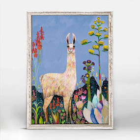 Llama, painted, garden, Eli Halpin, canvas, decor, art, framed canvases, rustic finish, minis, gallery wall.