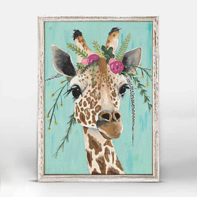 Stella, Spring Whitaker, giraffe, bouquet, flowers, mniature,  canvas wall art, unique rustic finish, giclee on canvas 5 X 7.