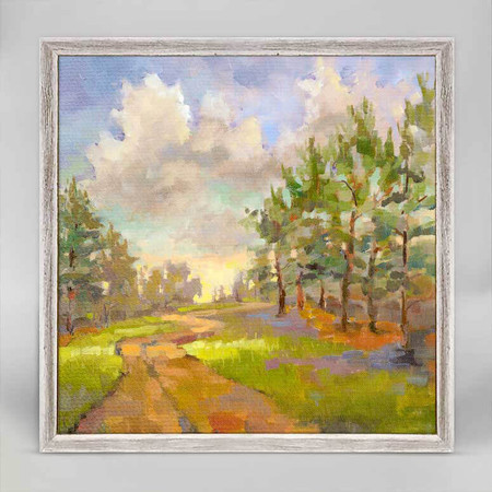 Country sights, country road, Jennifer Levins, mniature,  canvas wall art, unique rustic finish, giclee on canvas 6 X 6.