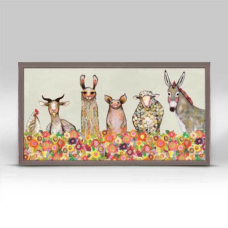 Farm friends, Mr. Rooster, Miss Donkey, Eli Halpin, flowers, mniature,  canvas wall art, unique rustic finish, giclee on canvas 10 x 5.