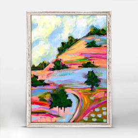 Colorful roads, journey, landscape art, Nina Ramos, mniature,  canvas wall art, unique rustic finish, giclee on canvas 5 X 7.
