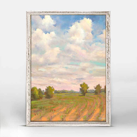 Baby blue skies, Jennifer Levin, country, farm, endless green crops, mniature,  canvas wall art, unique rustic finish, giclee on canvas 5 X 7.