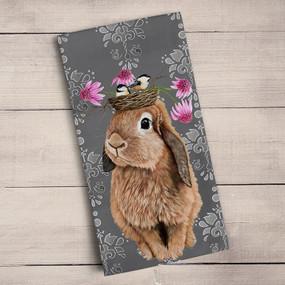 "Tea towel, bunny, birdie,  friends, Heather Gauthier, decorative, 21""x 28"",  100% Cotton"